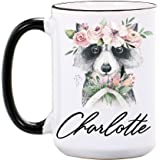 Raccoon Mug - Raccoon Gifts for Women - Personalized 15 oz or 11 oz Large Ceramic Mug - Raccoon Coffee Mugs - Cute Animal Cups - Raccoon Cups - Dishwasher & Microwave Safe