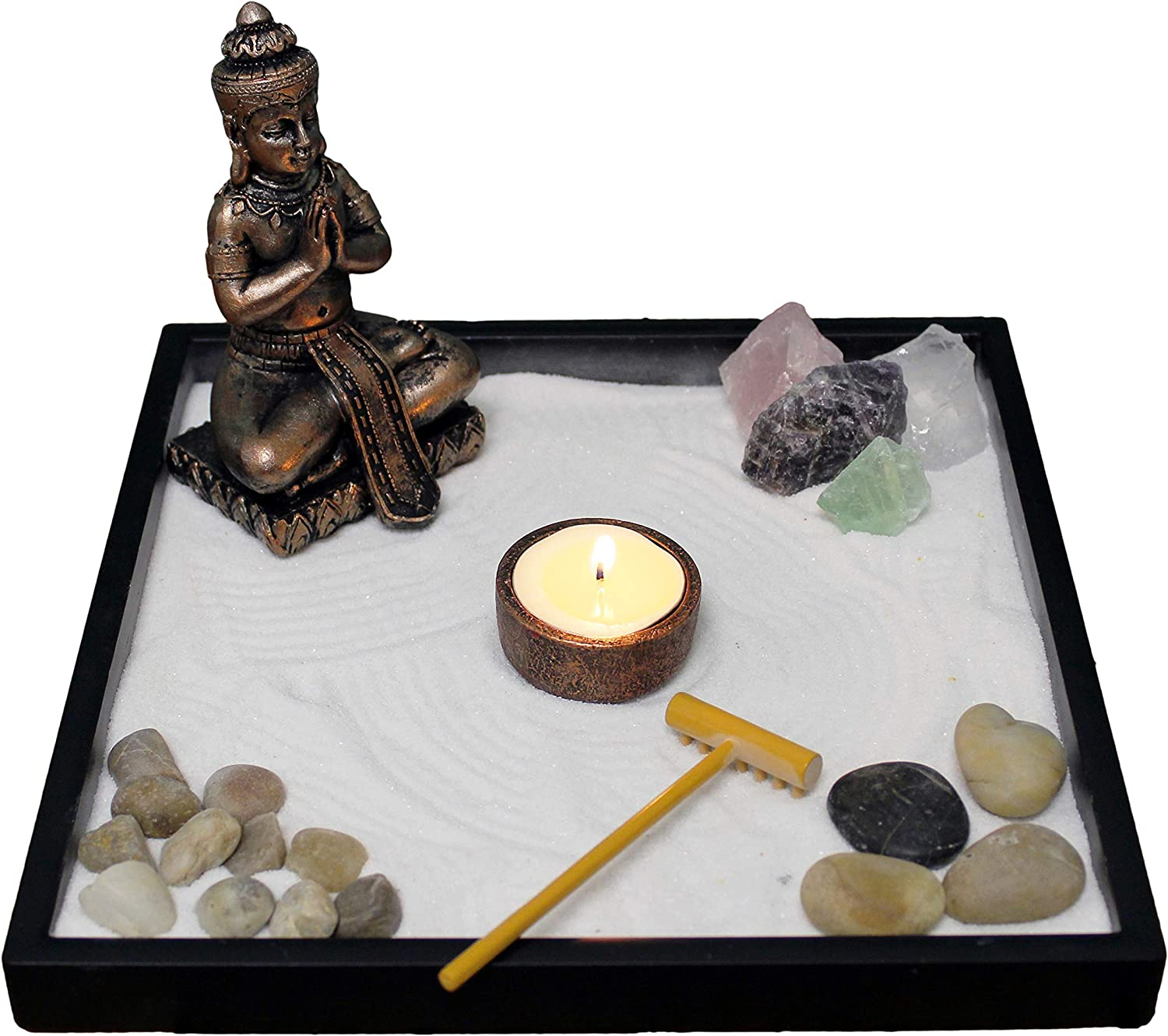 Nature's Mark, Mini Meditation Zen Garden Table Décor Kit with Accessories (9Lx9W Square B)