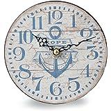キーストーン 置き時計・掛け時計 ホワイト 高さ/約 幅/約14.5cm, 奥行/約3cm オールドルック テーブルクロック