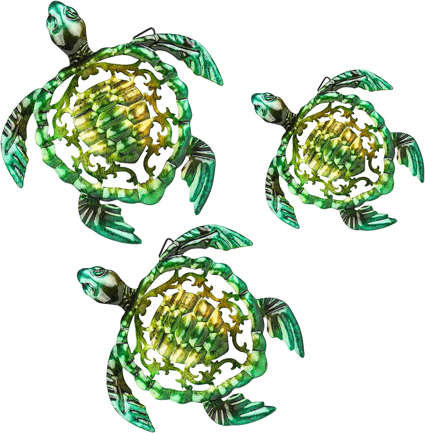 Erbacan Metal Sea Turtle Wall Art ,Sculpture Wall Decoration ,Patio Decor , Hanging For Indoor Outdoor Patio Fence Bathroon,Green Yellow Set Of 3