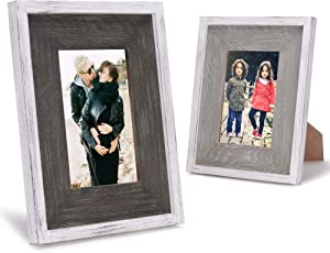 Rustic 4x6 Picture Frames 4x6 Frame Set of 2, Grey & Brown, Farmhouse Picture Frames for Wall with Real Glass, Rustic Home Decor Picture Frame - Oak and Walnut