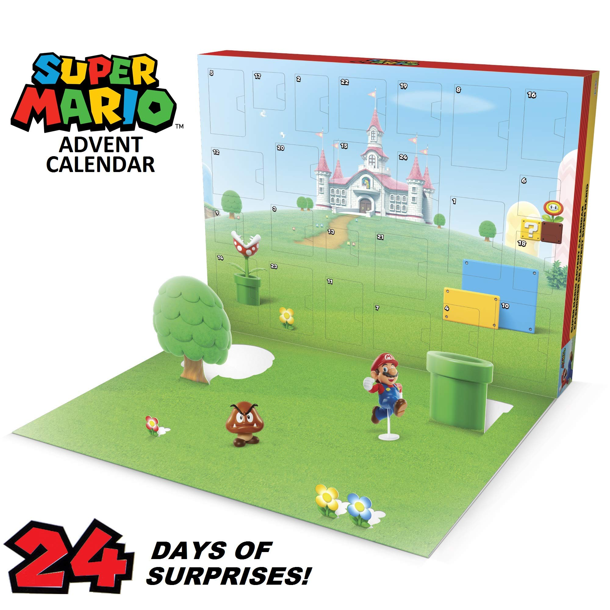 Nintendo Advent Calendar Super Mario Christmas Holiday Calendar with 17 Articulated 2.5'' Action Figures & 7 Accessories, 24 Day Surprise Countdown with Pop-Up Environment [Amazon Exclusive] by Nintendo