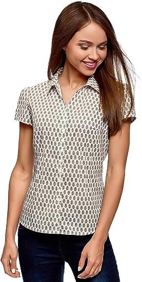 oodji Collection Mujer Camisa Entallada de Algodón, Beige, ES 46 / XXL: Amazon.es: Ropa y accesorios