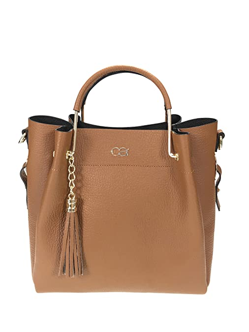 Echt Leder Handtasche mit modischem Tragegrif aus Metall und zusätzlichem langen Trageriemen (rosé) Collezione Alessandro zWTDNqKwJ