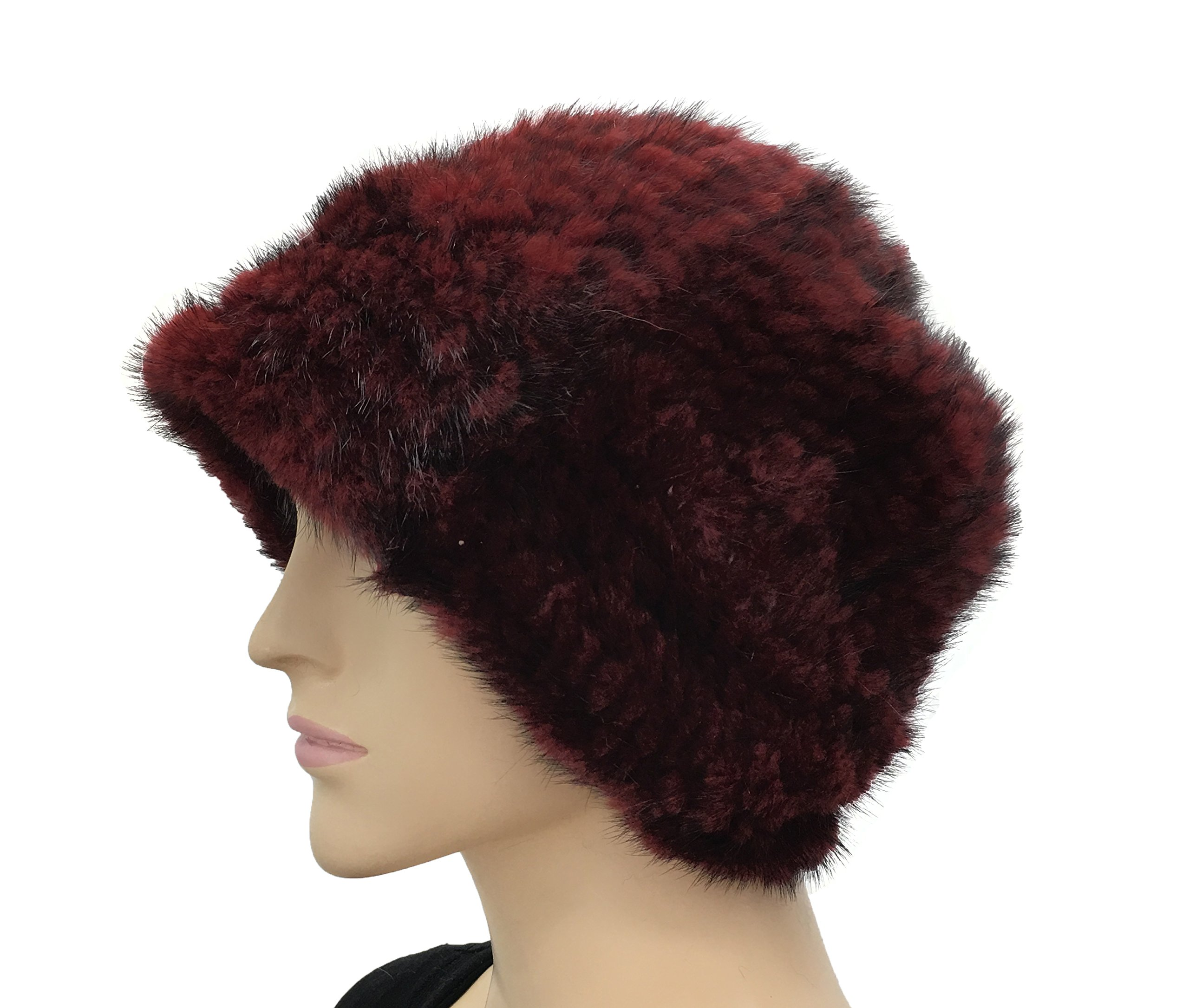 Hima Knit Mink Fur Roller Hat One Size 23'' (Burgandy) by Hima (Image #2)