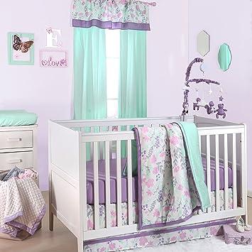 Amazon Com Flower Dew Drop Pink And Purple Crib Bedding 20
