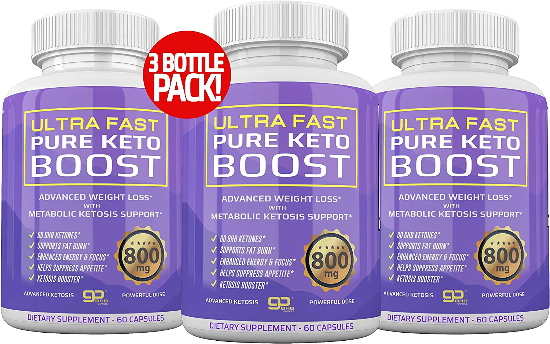 (3-Pack) Ultra Fast Pure Keto Boost - 2400mg Premium Keto Pills for Keto Diet for Energy & Focus Keto Capsules - Keto BHB Supplement for Men and Women - 90 Day Supply