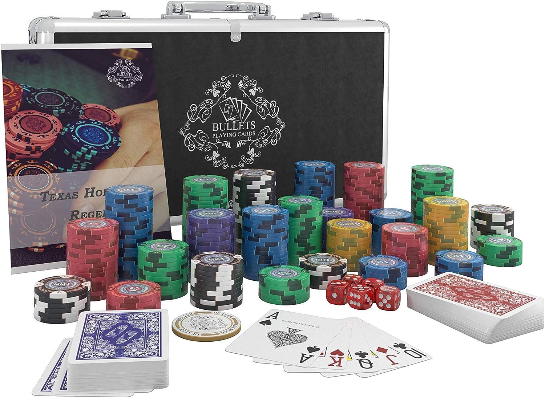 Poker-Anleitung Bullets Playing Cards Dealer Button und Bullets Plastik Pokerkarten Designer Pokerkoffer Tony Deluxe Pokerset mit 300 Clay Pokerchips