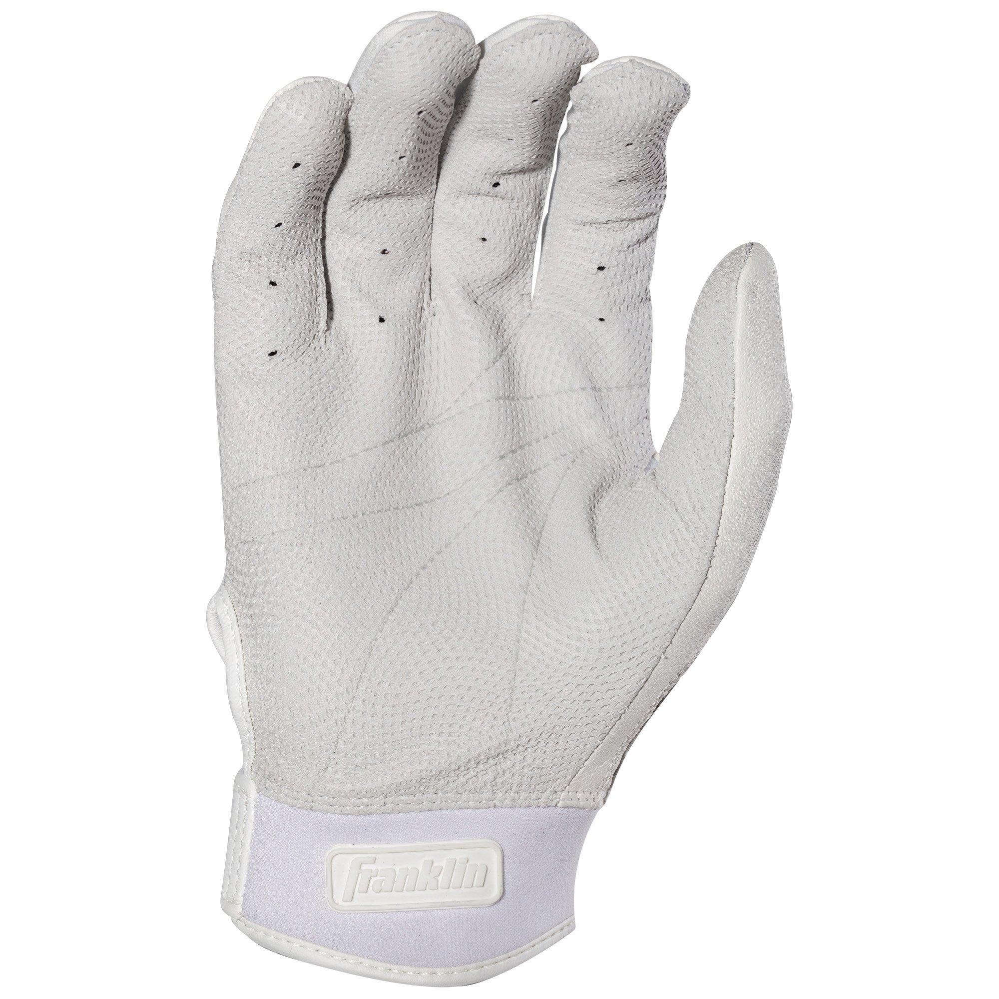 Franklin Sports CFX Pro Full Color Chrome Series Batting Gloves CFX Pro Full Color Chrome Batting Gloves, White, Adult Small by Franklin Sports (Image #3)