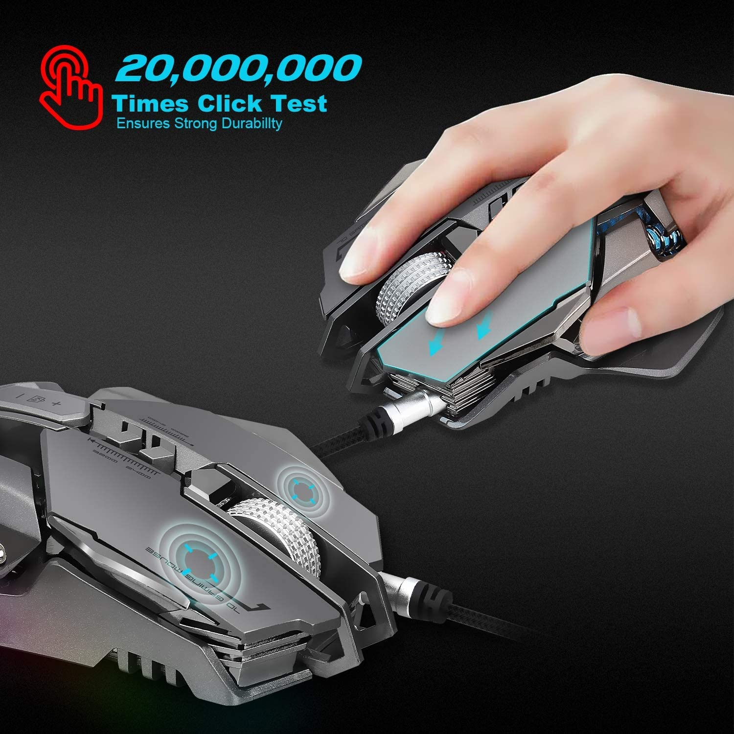 LOLOP Mechanical Mouse A3050 Chip 3200Dpi 7-Key Programming Definition Backlit Gaming Mouse