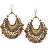 Zephyrr Fashion German Silver Beaded Chandbali Hook Earrings Jewellery for Women in 9 colors