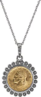 product image for American Coin Treasures Miss Italy Italian 20 Lira Coin Pendant Necklace - Italian 20 Lira Silvertone Pendant with Blossom Bezel| Italian Medallion Pendant | 24 Inch Rope Chain