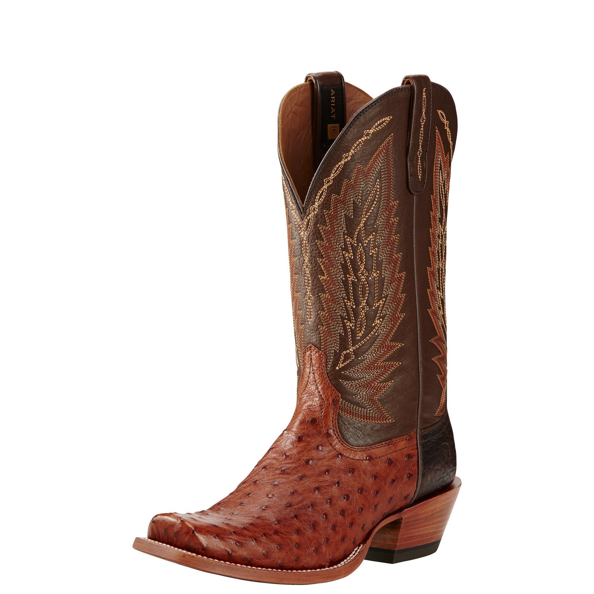 Ariat Men's Stock Show Western Cowboy Boot, Brandy Full Quill Ostrich/Royal Tobacco, 12 D US