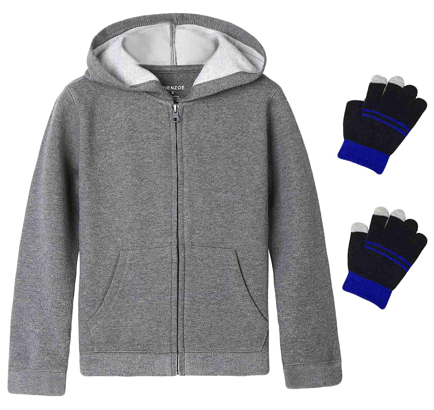 Bienzoe Boy's Anti-Pilling Fleece School Uniform Hoodie with Free Glove Gift