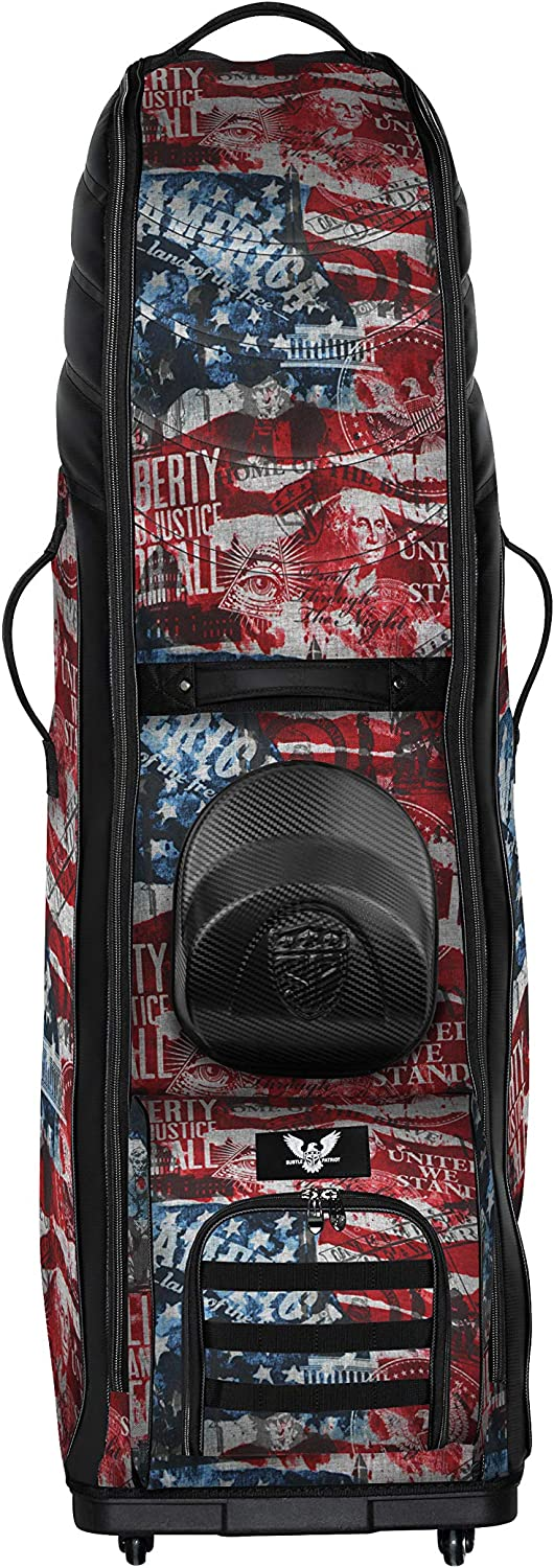 Subtle Patriot Men's Golf Bag Travel Cover with Wheels, Water Resistant, Lightweight & Collapsible,