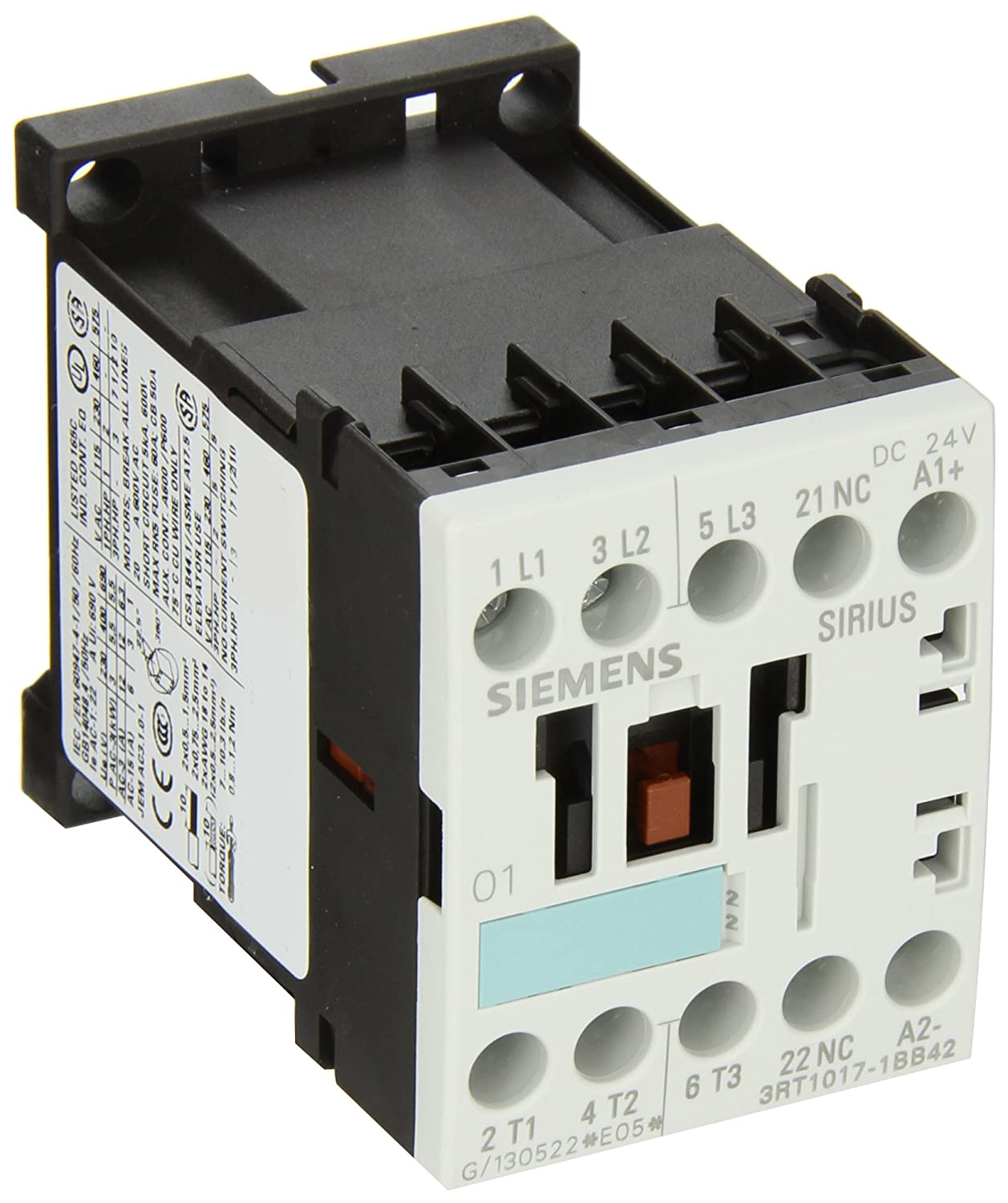 24V DC Coil Voltage Screw Terminals 1 NO Auxiliary Contact S00 Frame Size Siemens 3RT10 17-1BB41 Motor Contactor 3 Poles