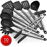 Kitchen Utensil Set - 10 Cooking Utensils - Nonstick Silicone and Stainless Steel Spatula Set - Best Kitchen Tools for Gift