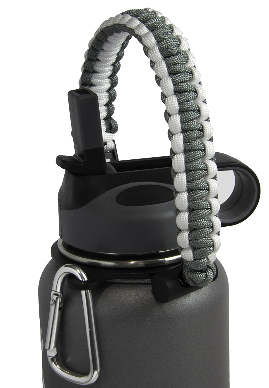 Durable 550 and Carabiner Carabiner WS Goods Straw Everything you need in one package! Security Ring Fits 12oz Premium Quality Paracord Handle Carrier Kit 32oz Wide Mouth Bottles Wide Mouth Straw Lid 350 Paracord Handle Grey//White