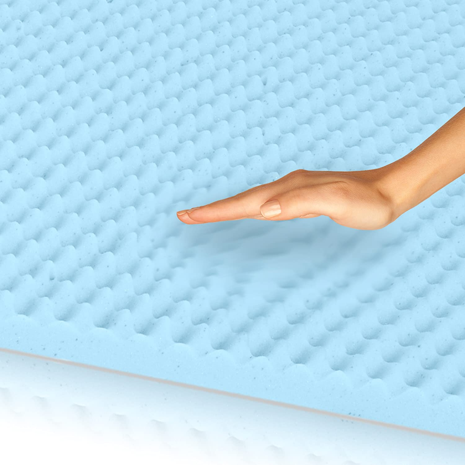 Egg Crate Gel Memory Foam Mattress Topper - King, Mattress Pad Provides  Great Pressure Relief, Gel Infusion Contributes to a Cooler Night Sleep ( King): ...