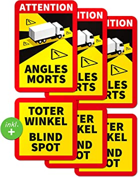 Printattack P086 Angles Morts Sticker Toter Winkel Aufkleber Wetterfester Aufkleber Blind Spot Lkw Transporter Bus Aufkleber 17x25cm 3 Stück Lkw Auto