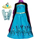 Cokos Box Girls Elsa Coronation Dress Costume Cape Gloves Tiara Crown Accessories Set