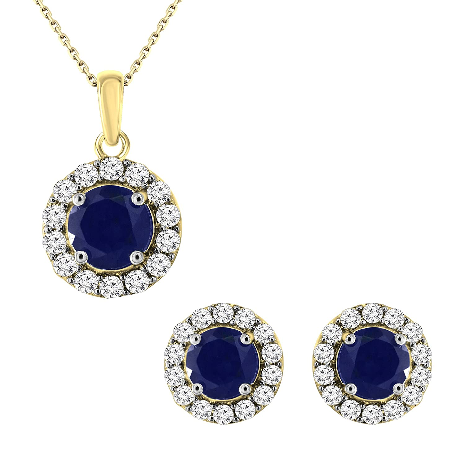 1.00 Ct. 14K Gold Natural Diamond Blue Sapphire Stud Earrings Pendant Jewelry Set (Free Silver Chain)