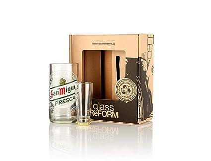 SAN MIGUEL reciclado botella de cerveza de cristal y vidrio de tiro (, 2 paquete