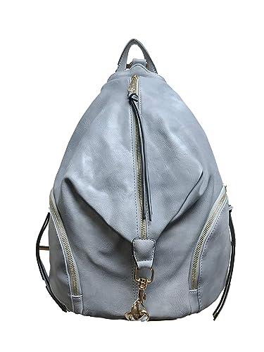 b058fe8d7f Amazon.com  Diophy PU Leather Fashion Backpack with Zipper Pockets on Both  Side Womens Purse Handbag AB-052 (Blue)  Shoes