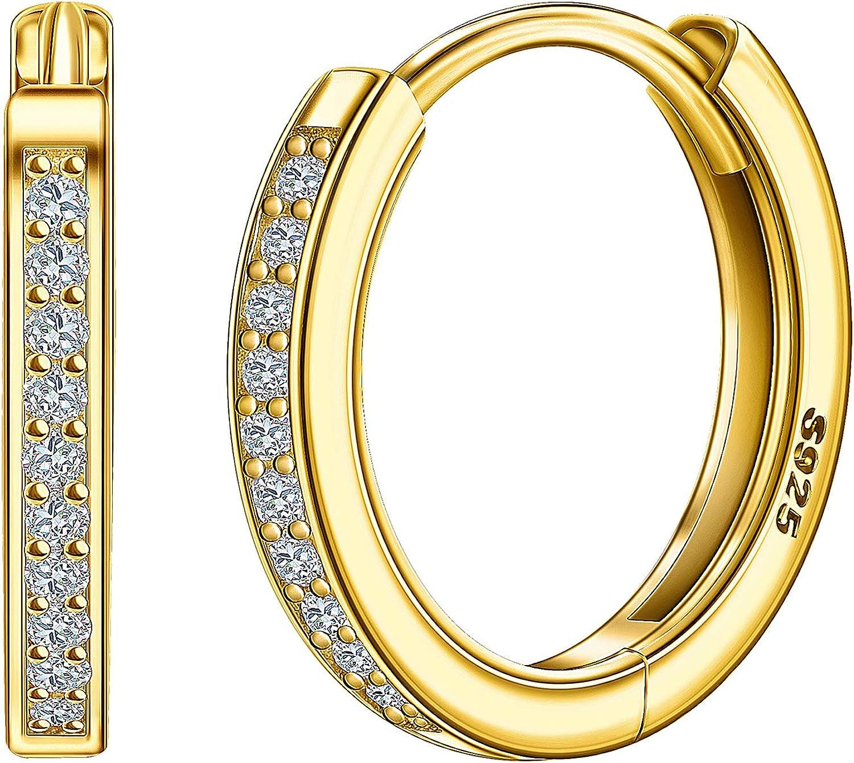 Small Hoop Earrings, 925 SterlingSilver Hoop Earrings with 5A Cubic Zirconia Gemstone, Minimalist Sleeper Earrings for Women & Men, Perfect Gifts for Family, Friends or Loved Ones