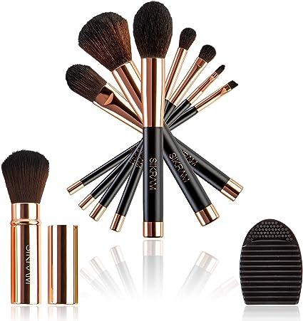 Juego de 8 pinceles de maquillaje color oro rosado fibras suaves Vegan kit de maquillaje de alta calidad, regalo elegante estuche para pinceles de viaje para limpiar pinceles profesional: Amazon.es: Belleza