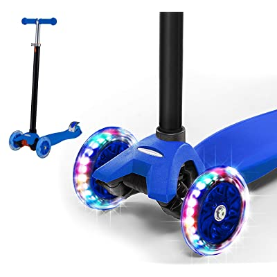 Rugged Racers Blue Kick Scooter for Boys & Girls 3 Wheel Scooter, Adjustable Kick Scooter for Kids with PU LED Light Up Wheels, Step Brake, Lean 2 Turn, Ride on Toys for Children 6 Year Plus : Sports & Outdoors