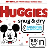 Huggies Snug & Dry Baby Diapers, Size Newborn, 108 Ct