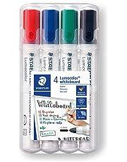Staedtler Lumocolor 351 WP4 Whiteboard-Marker, Rundspitze ca. 2 mm Linienbreite, Set mit 4 Farben, hohe Qualität, trocken und rückstandsfrei abwischbar von Whiteboards