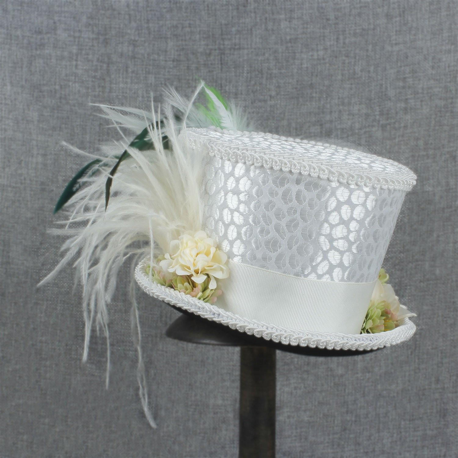 LL Women's White Mini Top Hat Tea Hat Mad Hatter Tea hat, Bridal Hat, Kentucky Derby hat (Color : White, Size : 25-30cm) by LL (Image #5)