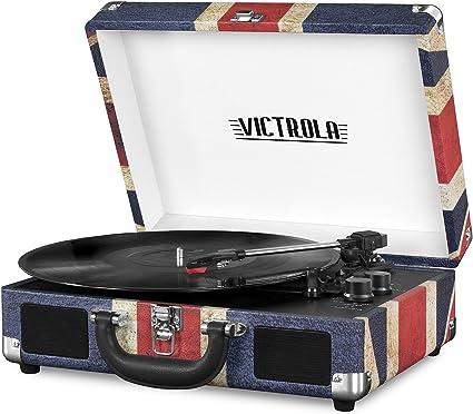 Victrola Vintage 3-Speed Bluetooth Suitcase Turntable with Speakers, UK Flag