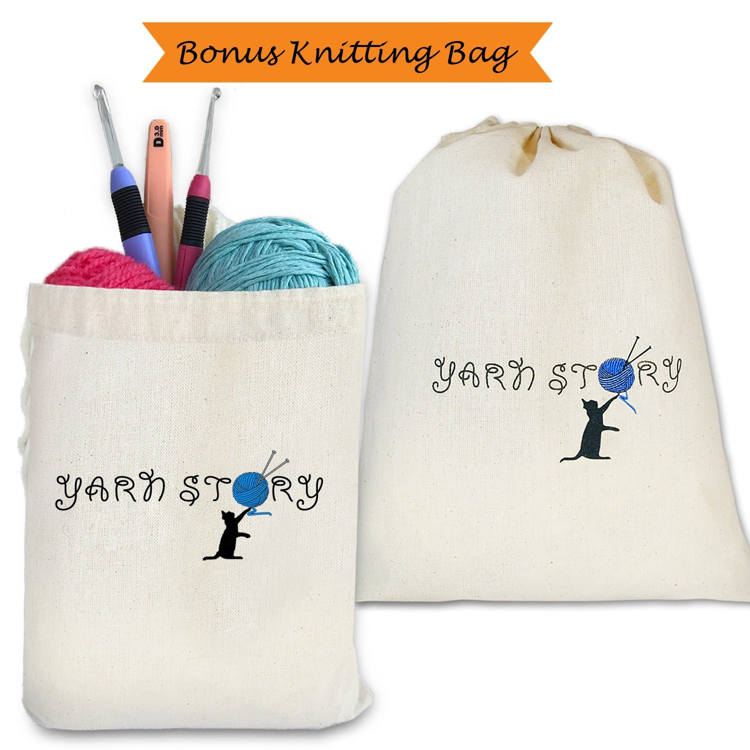 Yarn Bowl Walnut and Knitting Bag Bundle - 7''X3'', Wooden, Handmade from Special European Walnut Wood - Storage Organizer, Holder for Knitting and Crochet by Yarn Story- Perfect Gift! by YARN STORY (Image #4)