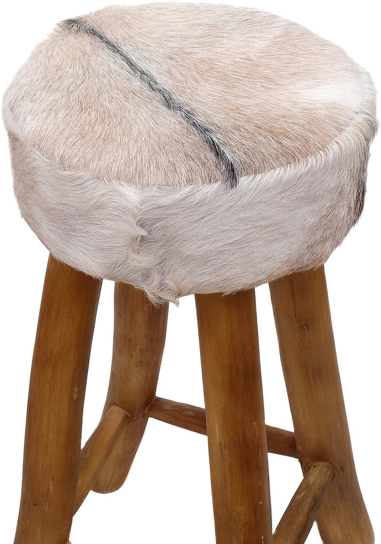 4 x Barhocker Holz mit Kunstfell Fellhocker Barstuhl Shabby Vintage 70 cm hoch