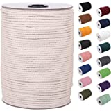 XKDOUS Macrame Cord 3mm x 220Yards, Natural Cotton Macrame Rope, Cotton Cord for Wall Hanging, Plant Hangers, Crafts, Knittin