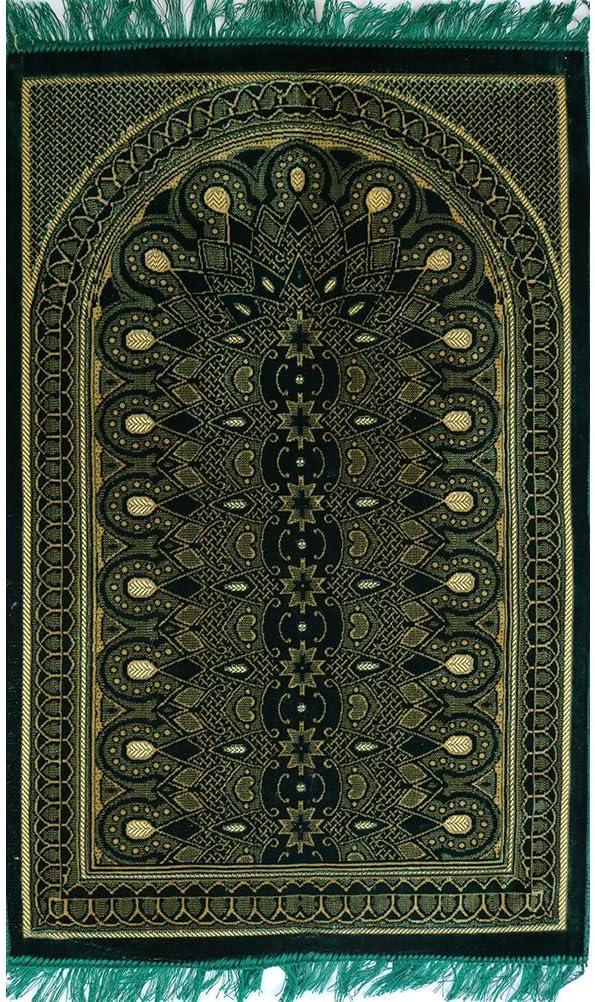 Islamic Prayer Rug - Muslim Velvet Namaz Sajadah Janamaz Geometric Arch (Green)