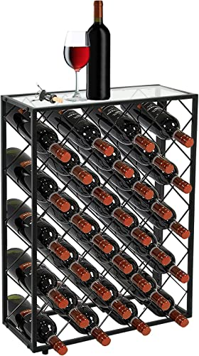 Smartxchoices 32 Bottle Wine Rack Table Heavy Duty Glass Finish Top Free Standing Floor Metal Wine Bottle Holder Storage Organizer Display Shelf Wobble-Free
