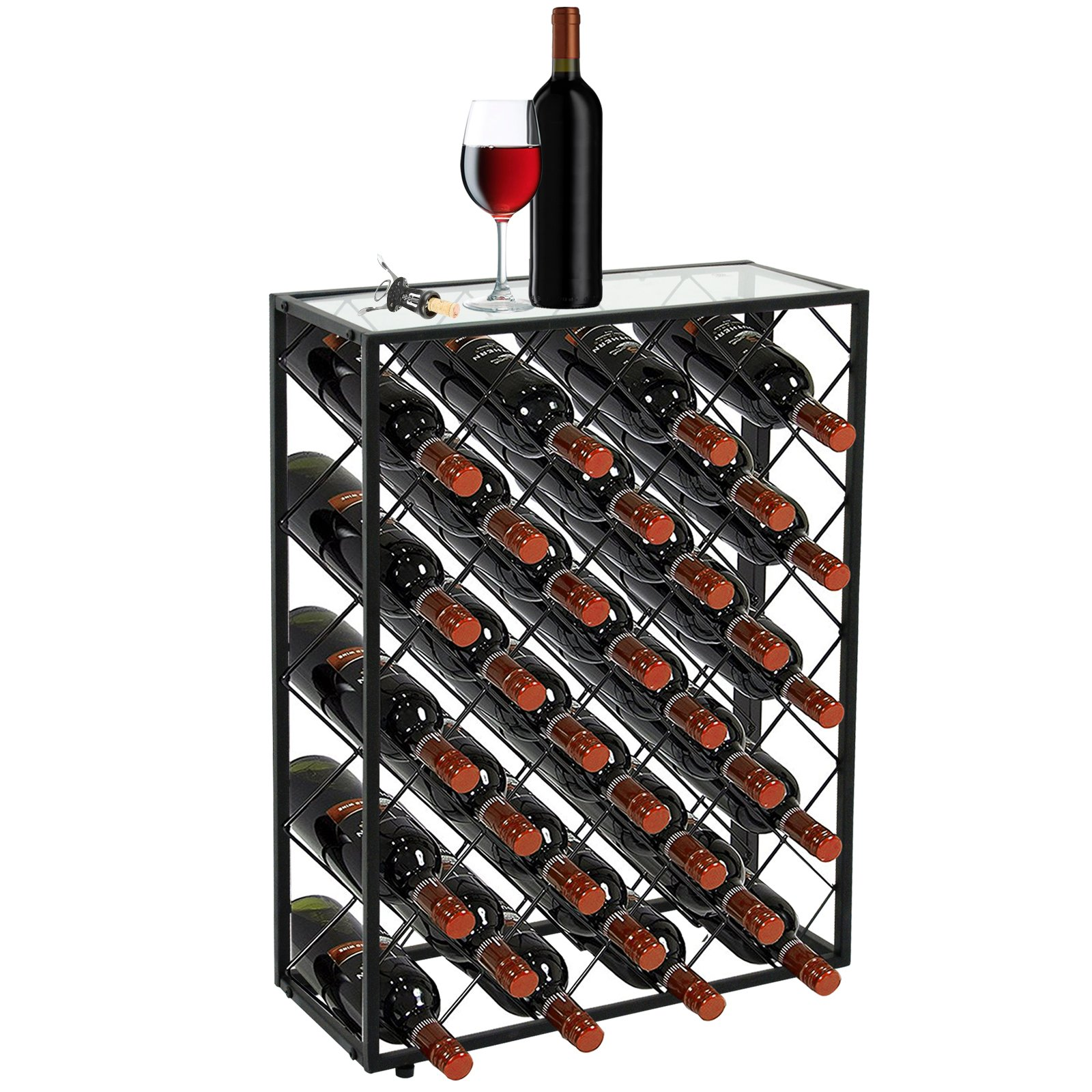 Smartxchoices 32 Bottle Black Steel Wine Rack with Thick Glass Table Top Free Standing Floor Wine Storage Organizer Display Shelves Wobble-Free