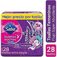 Saba Buenas Noches con Alas; Toallas Femeninas Nocturnas XL, Flujo Súper Abundante; 28 Toallas