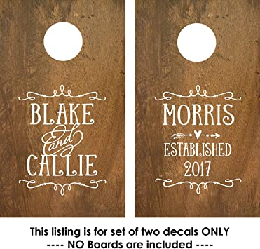 Custom Cornhole Decals Olive Branch Set of 2 Vinyl Decal Stickers Personalized Backyard Outdoor Games Party Wedding Themed Husband Wife