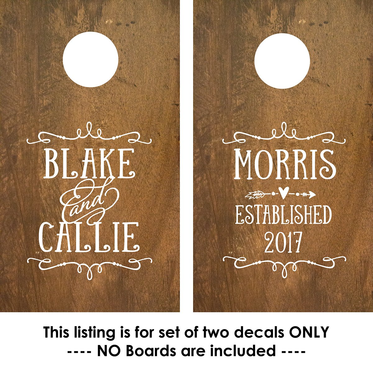 Amazon com personalized cornhole board decals stickers custom wedding monogram 2 decals sports outdoors