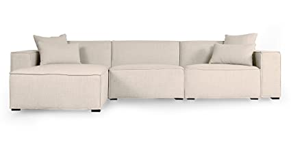 Kardiel MODUS Modern Modular 3 Pc Sofa Sectional Left, Urban Husk Twill