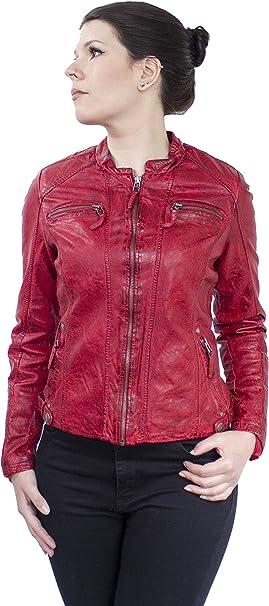 LEDERJACKE Liz Damen echtem Leder, Vintage (Rot, L