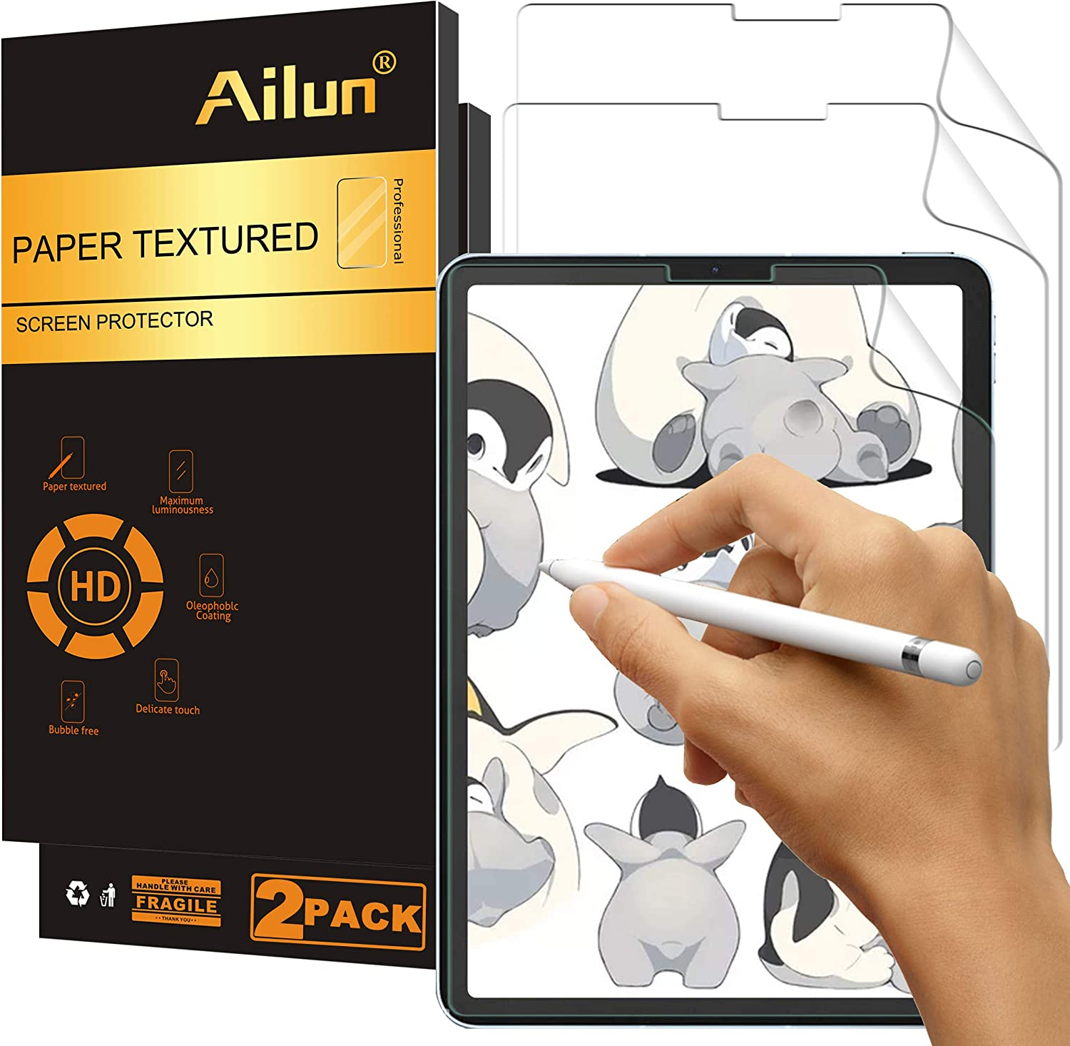 Ailun Paper Textured Screen Protector Compatible for New iPad Air 4th Generation[10.9 inch,2020 Release],iPad Pro 11 Inch[2021&2020&2018 Release] 2Pack Draw and Sketch Like on Papertouch Anti Glare