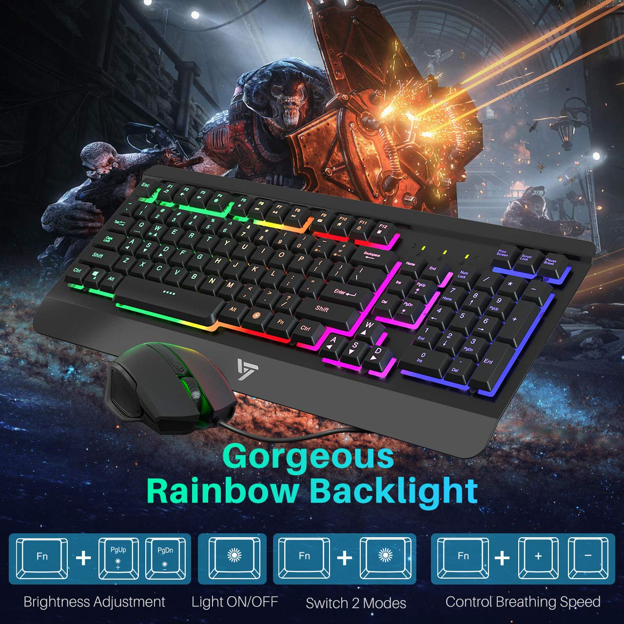VicTsing Gaming Keyboard Mouse Combo, Ultra-Slim Rainbow LED Backlit Keyboard with Ergonomic Wrist Rest, Programmable 6 Button Mouse for Windows PC Gamer, Spill-Resistant Design - Black by VicTsing (Image #1)
