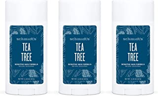 product image for Schmidt's Aluminum Free Natural Deodorant for Women and Men, Tea Tree for Sensitive Skin with 24 Hour Odor Protection, Certified Cruelty Free, Vegan Deodorant, 3.25 oz 3-pack
