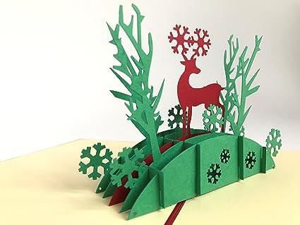 Tarjeta de Navidad: reno en el bosque - Pop-up tarjeta ...
